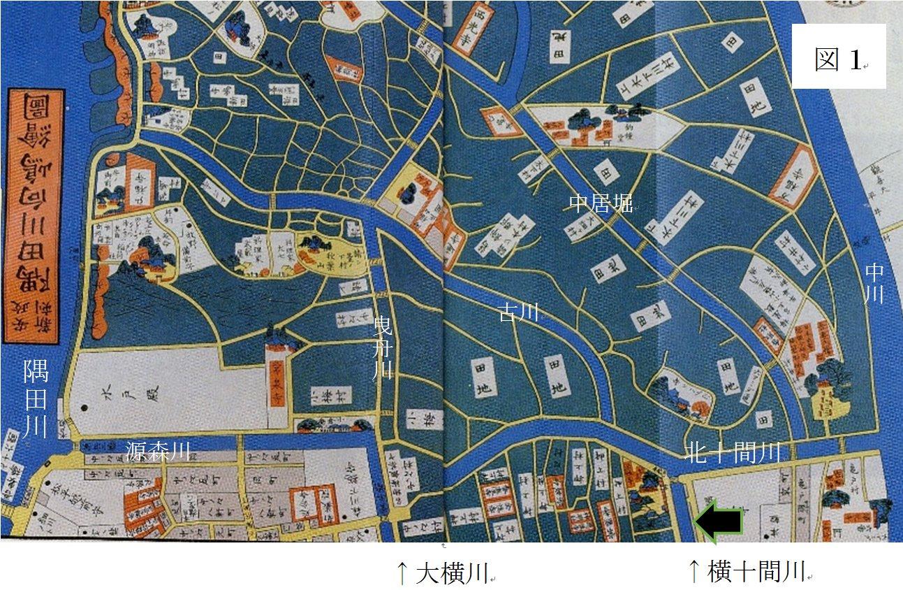 安政3(1856)年の尾張屋版「隅田川向島絵図」''