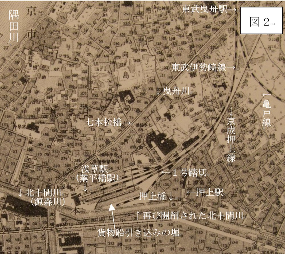 関東大震災前の大正6年(1917)に日本帝国測量部発行の地図です。''